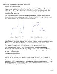 Polynomial Functions & Properties of Polynomials General ...