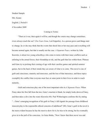 as separate peace essay Friendship in a separate peace essay 806 words | 4 pages friendship in a separate peace a separate peace is a story about two youths, gene and phineas, growing up at a beautiful boys' boarding school in new england.