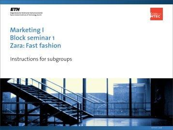 Marketing I Block seminar 1 Zara: Fast fashion - SMI