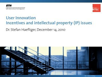 User Innovation Incentives and intellectual property (IP) issues - SMI