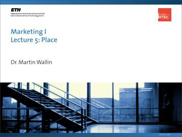 Marketing I Lecture 5: Place - SMI