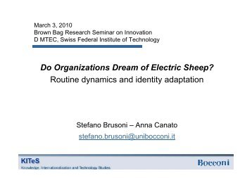 Do Organizations Dream of Electric Sheep? Routine dynamics ... - SMI