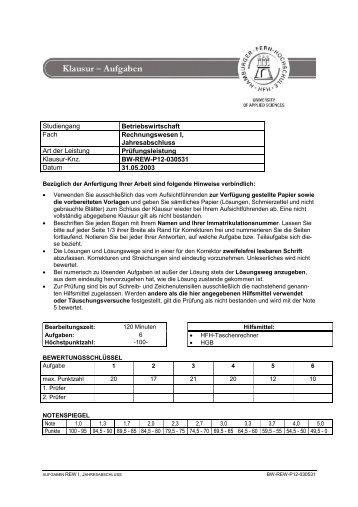 Studiengang Betriebswirtschaft Fach Rechnungswesen I ...