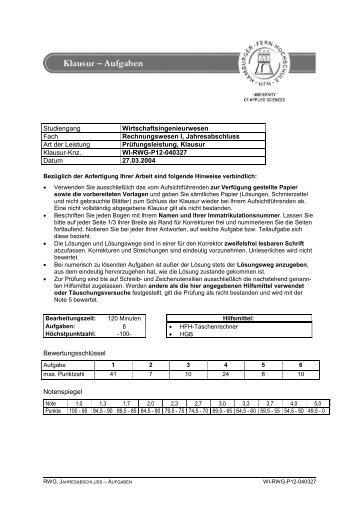 Studiengang Wirtschaftsingenieurwesen Fach Rechnungswesen I ...