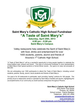 DOWNLOAD our Sponsor Packet for the 2013 A Taste of Saint Mary's