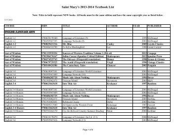 Saint Mary's 2013-2014 Textbook List - Saint Mary's Catholic High ...