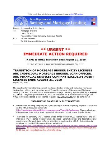 Transition of Mortgage Broker Entity Licenses and Individual ...