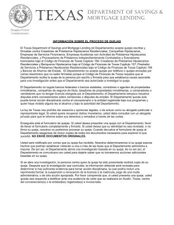 Consumer Complaint Form (SPANISH - EMAIL) - Texas Department ...