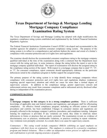Mortgage Company Examination Rating System - Texas Department ...