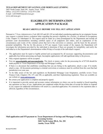 Eligibility Determination Application - Texas Department of Savings ...
