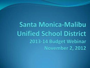 Informational Webinar on 2013-14 Budget - Santa Monica-Malibu ...