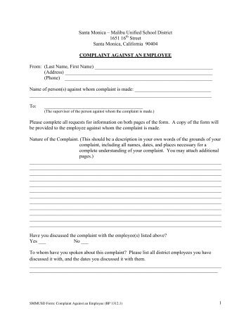 "Employee Complaint Form €"" Level One - Industrial Isd"