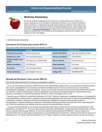 Informe de Responsabilidad Escolar McKinley Elementary