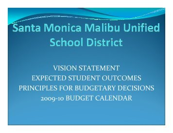 Budget Calendar - Santa Monica-Malibu Unified School District