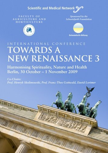 TOWARDS A NEW RENAISSANCE 3 - Scientific and Medical Network