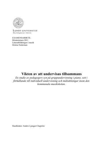 Vikten av att undervisas tillsammans - SMoK - Sveriges Musik