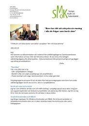 Projektinformation, januari 2013 - SMoK - Sveriges Musik