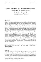 Lärares didaktiska val i relation till deras levda ... - Didaktisk tidskrift