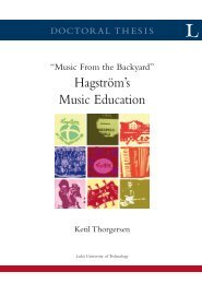 Hagström's Music Education - Luleå University of Technology