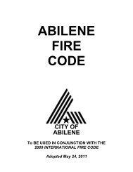 Abilene Fire Code 2009 - City of Abilene, Texas
