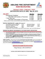 ABILENE FIRE DEPARTMENT - City of Abilene, Texas