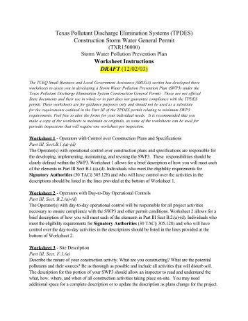 (SWP3) Template (TCEQ) Instructions - City of Abilene, Texas