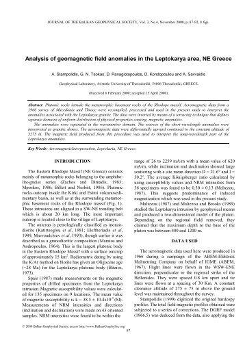 Analysis of geomagnetic field anomalies in the Leptokarya area, NE ...