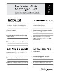 Scavenger Hunt - Liberty Science Center