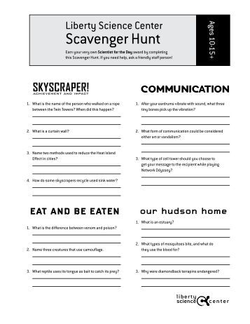 Earth Science Reference Tables: Scavenger Hunt!!!