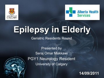 Epilepsy in Elderly - Department of Medicine
