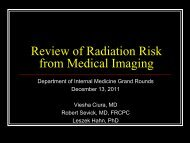 Grand Rounds: CT and Radiation Dose - Department of Medicine