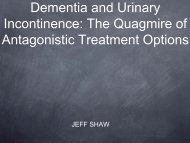 Dementia and Urinary Incontinence: The Quagmire of Antagonistic ...