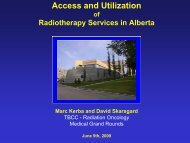 Access to radiotherapy services in Alberta - Department of Medicine