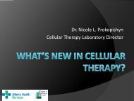 What's new in Cellular Therapy? - Department of Medicine
