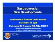 Gastroparesis: New Developments - Department of Medicine