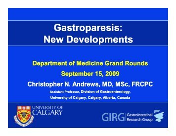 Gastroparesis: New Developments - Department of Medicine