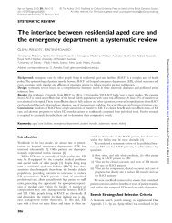 The interface between residential aged care and the emergency ...
