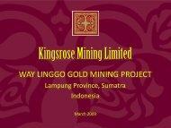 Way Linggo Gold Project Update - Kingsrose Mining