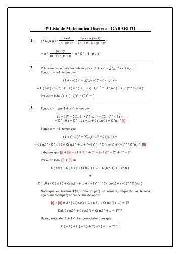 3 Lista de Matemática Discreta - GABARITO 1. 2. 3.