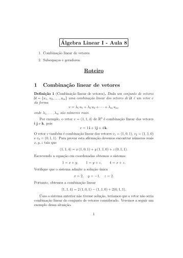 ´Algebra Linear I - Aula 8 Roteiro 1 Combinaç˜ao linear de vetores