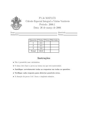 P1 de MAT1173 Cálculo Especial Integral a Várias Variáveis Per ...