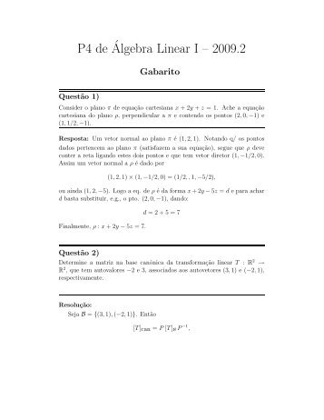 P4 de´Algebra Linear I – 2009.2