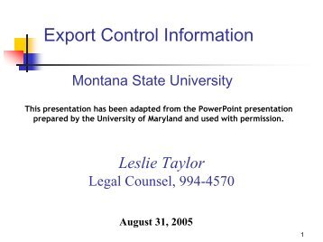 Export Control Information - Montana State University
