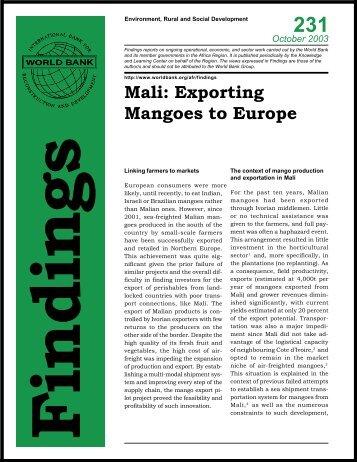 Mali: Exporting Mangoes to Europe