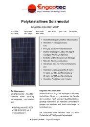 Datenblatt Solarmodul Engcotec HG-250P-290P - Engcotec Gmbh