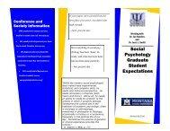Social Psychology Graduate Student Expectations