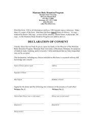 Declaration of Consent form. - Montana State University