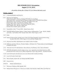 MSU WWAMI E2012 Orientation August 13-14, 2012