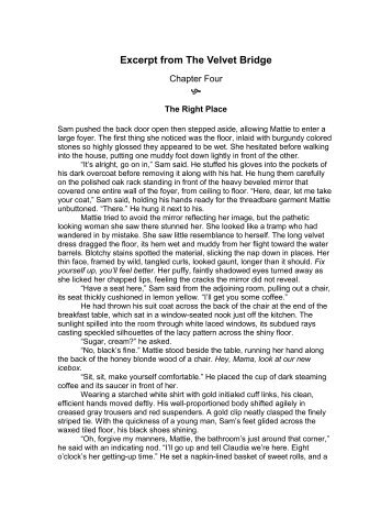 Excerpt from The Velvet Bridge  - Anitastubbs.com