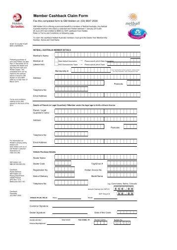 Member Cashback Claim Form